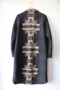PENDLETON CHARCOAL TAN JACQUARD WOOL LONG COAT SZ S (RETAIL $499)