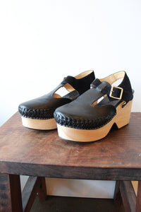 FREE PEOPLE BLACK LEATHER PLATFORM CLOGS, SZ 38/7.5-8