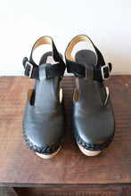 Load image into Gallery viewer, FREE PEOPLE BLACK LEATHER PLATFORM CLOGS, SZ 38/7.5-8