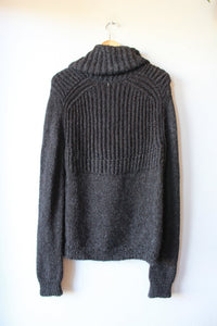 HANDKNIT CHARCOAL BROWN ALPACA FUNNEL NECK SWEATER SZ M