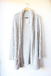 BERRETTI (MADE IN ITALY) LIGHT GREY WHITE NUBBY OPEN KNIT LONG CARDIGAN SZ L