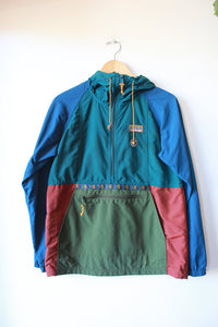 L.L.BEAN STOWAWAY TURQUOISE HOODED WINDBREAKER SZ XS