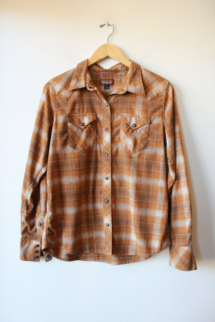 PATAGONIA HEMP BLEND MUSTARD BROWN PLAID SNAPPY FLANNEL SZ M