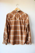 Load image into Gallery viewer, PATAGONIA HEMP BLEND MUSTARD BROWN PLAID SNAPPY FLANNEL SZ M