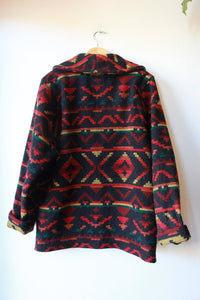 VINTAGE WOOLRICH WOMAN BLACK RED JACQUARD WOOL COAT SZ L