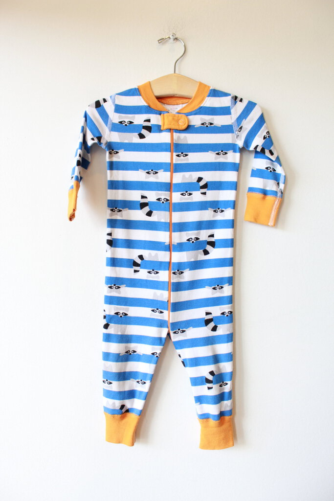 HANNA ANDERSSON BLUE STRIPED RACOON PJS SZ 70/9-18M