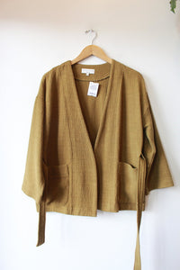 TEXTURE & THREAD PEA GREEN BELTED THICK WOVEN COTTON JACKET SZ S