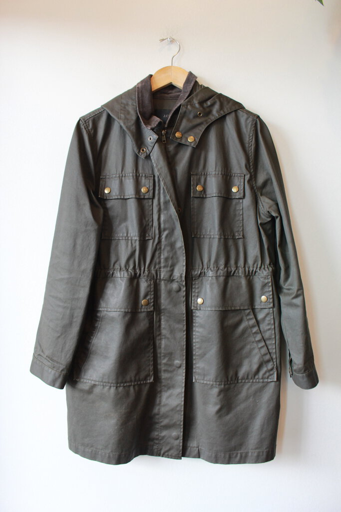J.CREW OLIVE WAXED CANVAS HOODED PARKA SZ M (OLDER)
