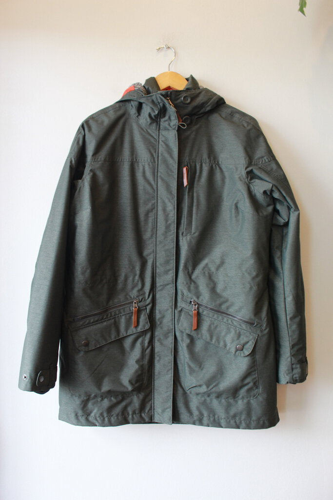 COLUMBIA OLIVE INTERCHANGE WATERPROOF PARKA WITH REMOVABLE LINER SZ L
