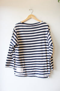 MISTER FREEDOM NAVY STRIPED BOATNECK SWEATSHIRT SZ L