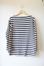 Load image into Gallery viewer, MISTER FREEDOM NAVY STRIPED BOATNECK SWEATSHIRT SZ L