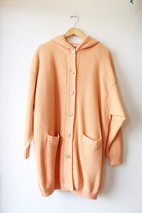 AMAZING VINTAGE SHERBET WOOL HOODED INSULATED SWEATER COAT WITH FAWN DETAIL SZ L/XL
