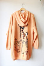 Load image into Gallery viewer, AMAZING VINTAGE SHERBET WOOL HOODED INSULATED SWEATER COAT WITH FAWN DETAIL SZ L/XL