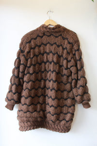VINTAGE RIGHT FASHION BROWN MOHAIR BLEND FAB SWEATER COAT SZ M