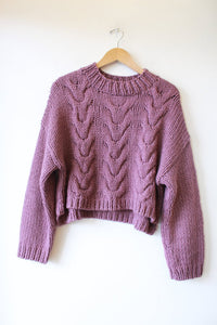 NATIVE YOUTH PURPLE CROPPED BOXY CHUNKY CABLEKNIT SWEATER SZ S