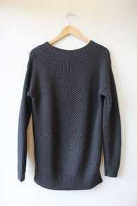WILFRED FREE CHARCOAL 100% WOOL WAFFLE KNIT SWEATER SZ S