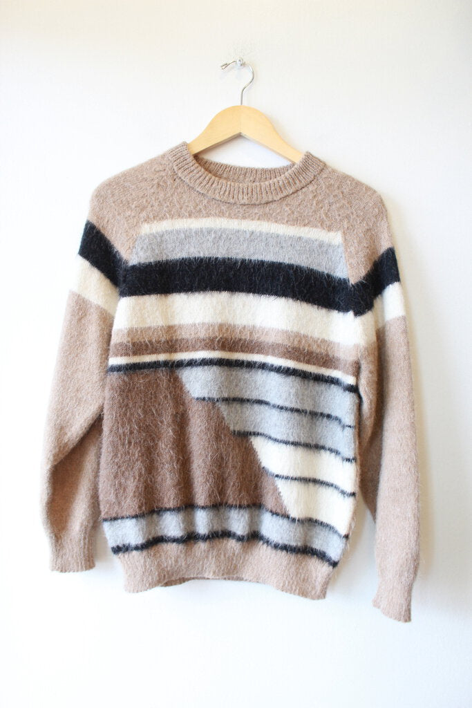 RETRO BROWN GREY ABSTRACT KNIT PULLOVER SWEATER SZ S (AS IS: MEND FRONT)