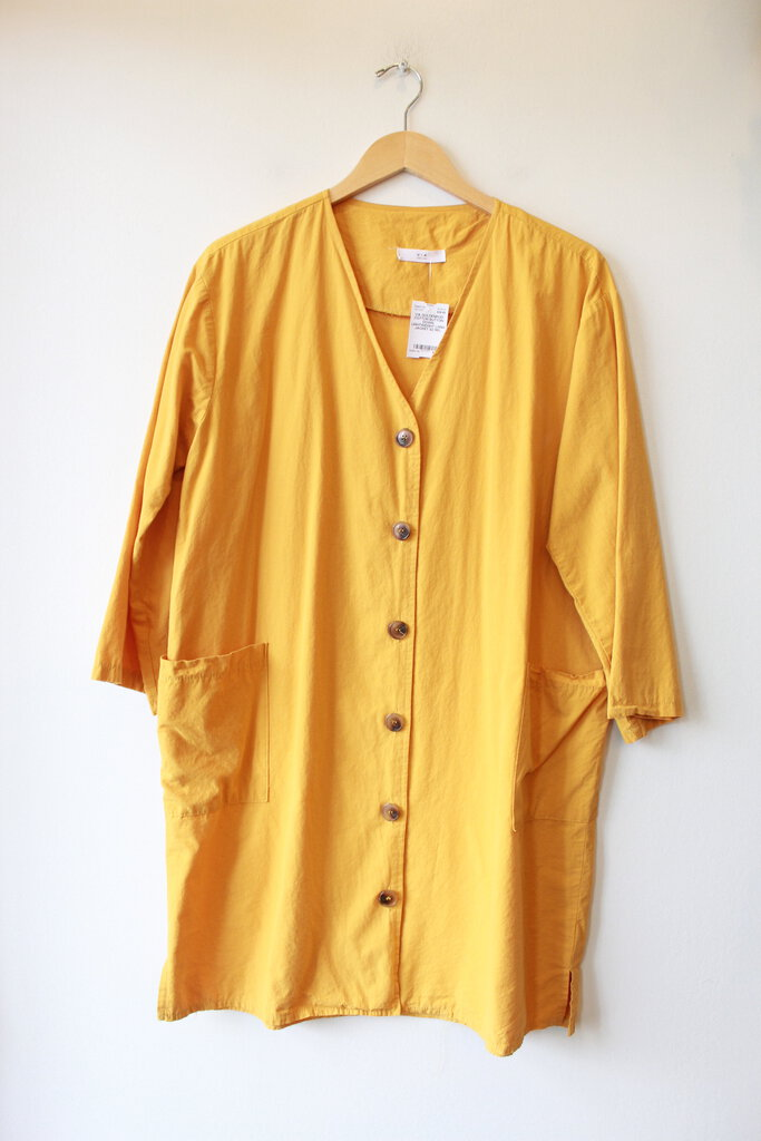 VIA GOLDENROD COTTON BUTTON DOWN LIGHTWEIGHT LONG JACKET SZ M/L