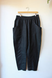ELIZABETH SUZANN CLYDE PANT IN MIDWEIGHT BLACK LINEN SZ 14R
