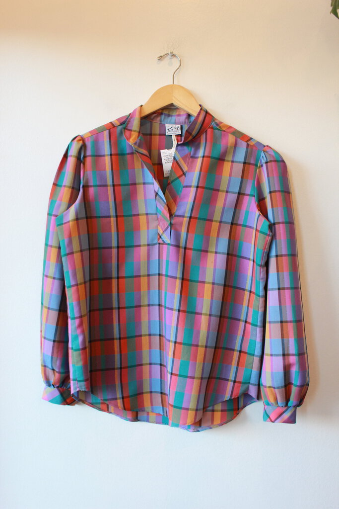 VINTAGE STYLED BY TERRY RAINBOW PLAID PUFF SLEEVE BLOUSE SZ S/M