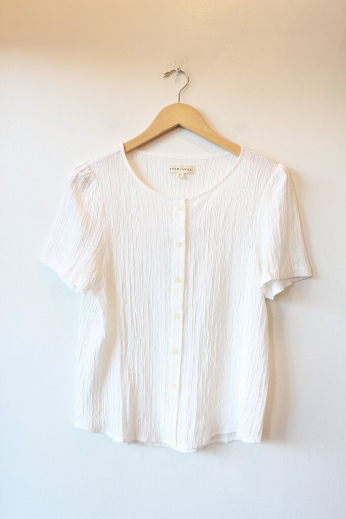 TRADLANDS WHITE 'BARCELONA' S/S TEXTURED BUTTON DOWN SZ S