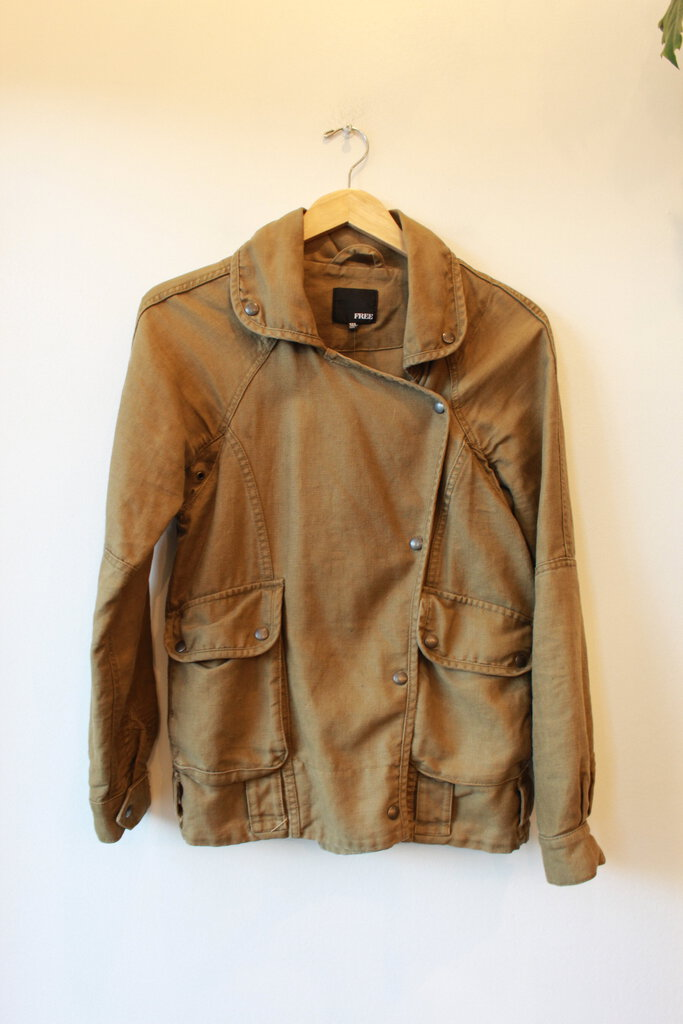 WILFRED FREE OLIVE-TONE SAFARI-INSPIRED WOVEN JACKET SZ XS-S