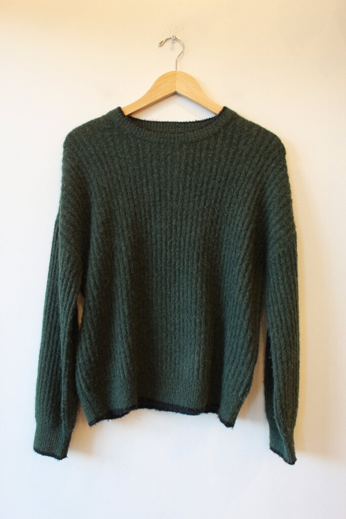 JUST FEMALE 'ESTELLE' DARK FOREST GREEN RIBBED KNIT MOHAIR/WOOL BLEND