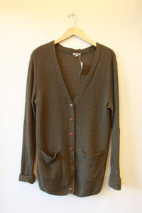 SUSS OLIVE GREEN CASHMERE LONG CARDIGAN SZ M (2)