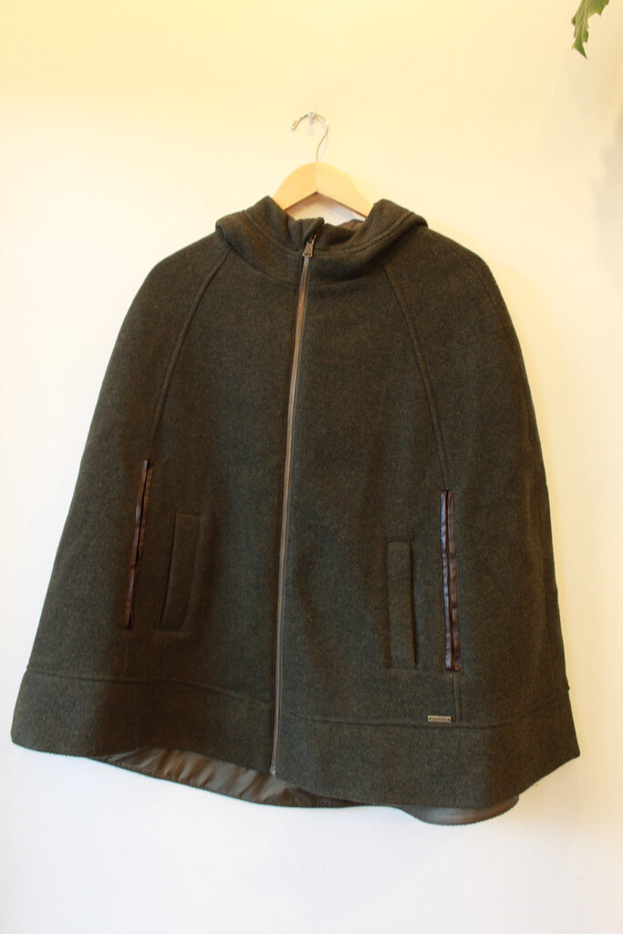 PRANA HEATHERED OLIVE WOOLEN HOODED CAPE SZ S-M