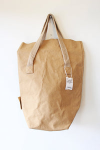 UASHMAMA BEIGE WASHABLE PAPER TOTE WITH WOVEN HANDLES (NWT)
