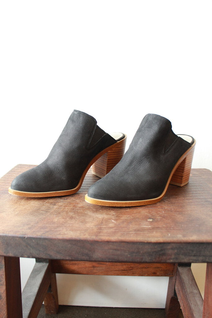 1. STATE BLACK STACKED HEEL MULES SZ 7.5 ($108 ONLINE)