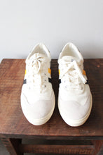 Load image into Gallery viewer, GOLA WHITE CANVAS WITH YELLOW + NAVY DETAIL SNEAKERS SZ 9 (NEW)