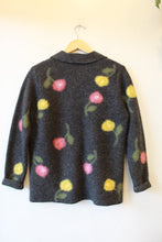Load image into Gallery viewer, MERCER & MADISON CHARCOAL FLORAL FELTED WOOL JACKET SZ PS