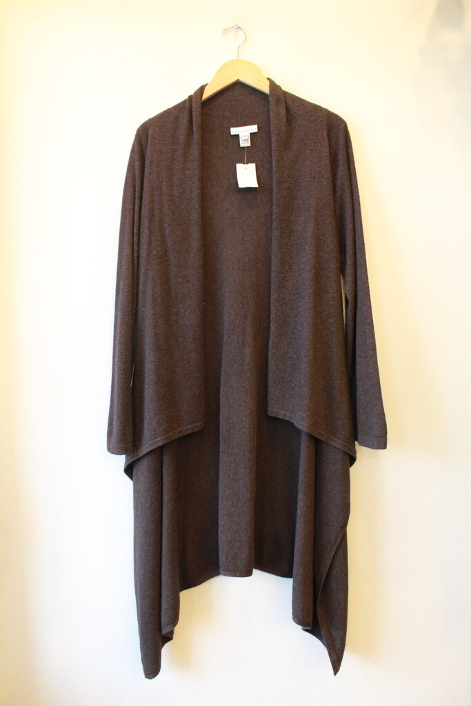 BRYN WALKER BROWN LAMBSWOOL BLEND WATERFALL CARDIGAN SZ M (FITS L/XL)