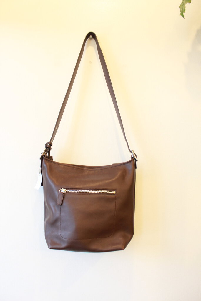 COACH DARK BROWN LARGE LEATHER CROSSBODY PURSE