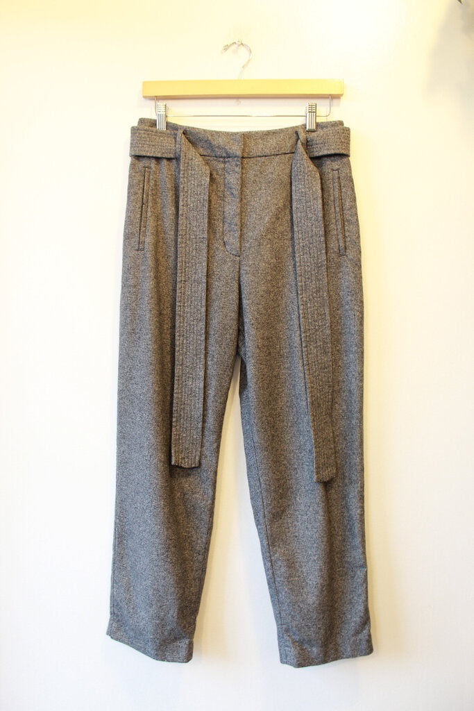 WILFRED GREY WOOL BLEND BELTED HIGH RISE TROUSERS SZ 10 (FIT SZ 6)