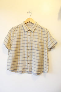 BRIDGE & BURN 'GREER' STRIPED ORG. COTTON DOUBLECLOTH CROPPED S/S SHIRT NWT SZ M