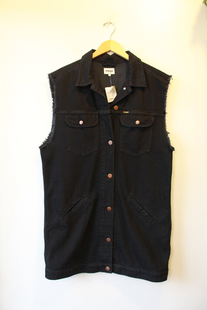 WRANGLER BLACK DENIM LONG VEST WITH CUT-OFF SLEEVES SZ L