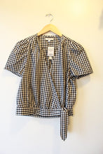 Load image into Gallery viewer, MADEWELL BLACK WHITE GINGHAM SS WRAP BLOUSE SZ M NWT