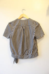 MADEWELL BLACK WHITE GINGHAM SS WRAP BLOUSE SZ M NWT