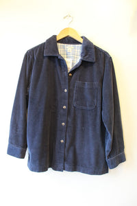 L.L.BEAN NAVY FLANNEL LINED CORDUROY SHIRT SZ M