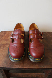 DR. MARTENS RED DOUBLE T-STRAP SHOES SZ 7 (RUN LARGE)
