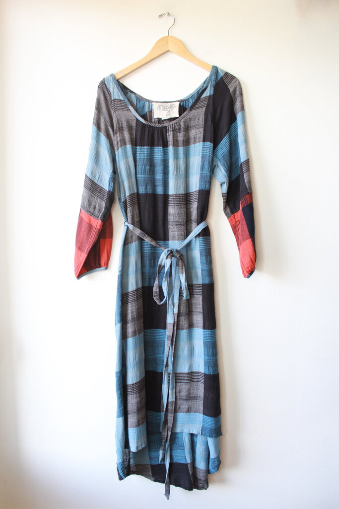 ACE & JIG COTTON 'CAROLINA' BLUE PLAID L/S MIDI W/'PENANT' CUFFS SZ XS