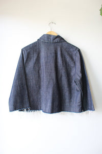 LOCAL DESIGNER- ALEXA STARK DARK DENIM CROPPED JACKET W/RAW HEMS SZ S