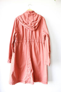 ANTHROPOLOGIE TERRACOTTA HOODED COTTON PARKA SZ L