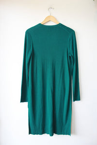 J.JILL KELLY GREEN RIBBED LONG CARDIGAN SWEATER SZ S