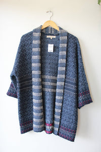 LINEAMAGLIA BLUE WOVEN OPEN SWEATER COAT SZ S