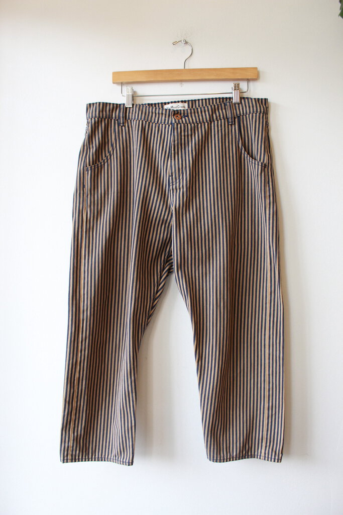 YOU MUST CREATE TAN NAVY STRIPED BALLOON JEANS SZ L