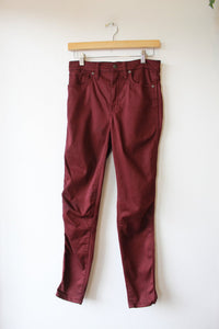 "MADEWELL 10"" HIGH RISE SKINNY JEANS IN BURGUNDY SZ 27/4"