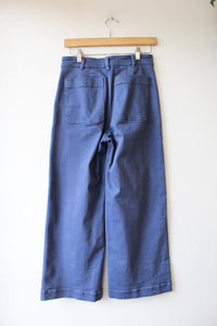 EVERLANE DUSTY BLUE WIDE LEG CROP SZ 2